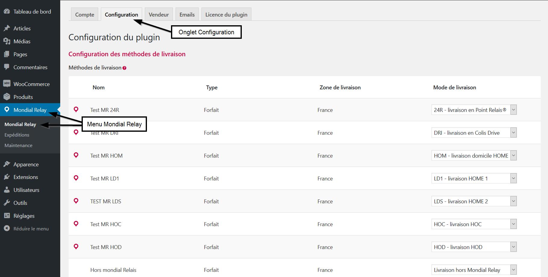 Paramétrage configuration accès au menu