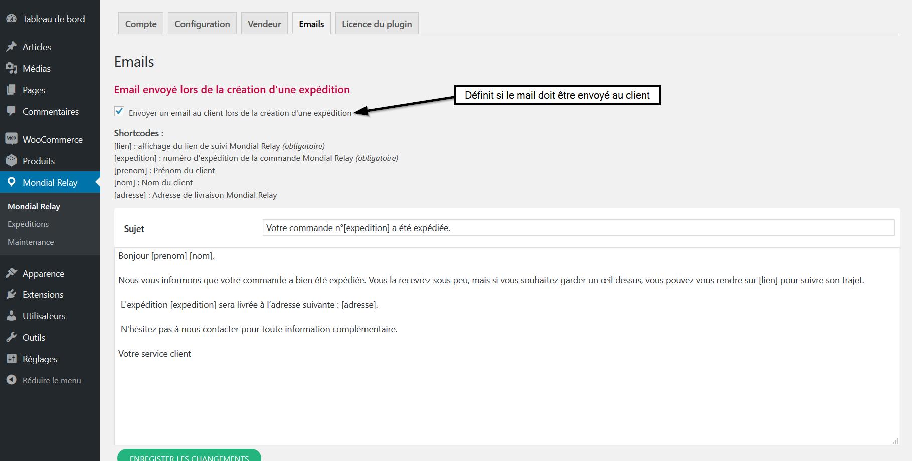 Paramétrage emails choix d envoi